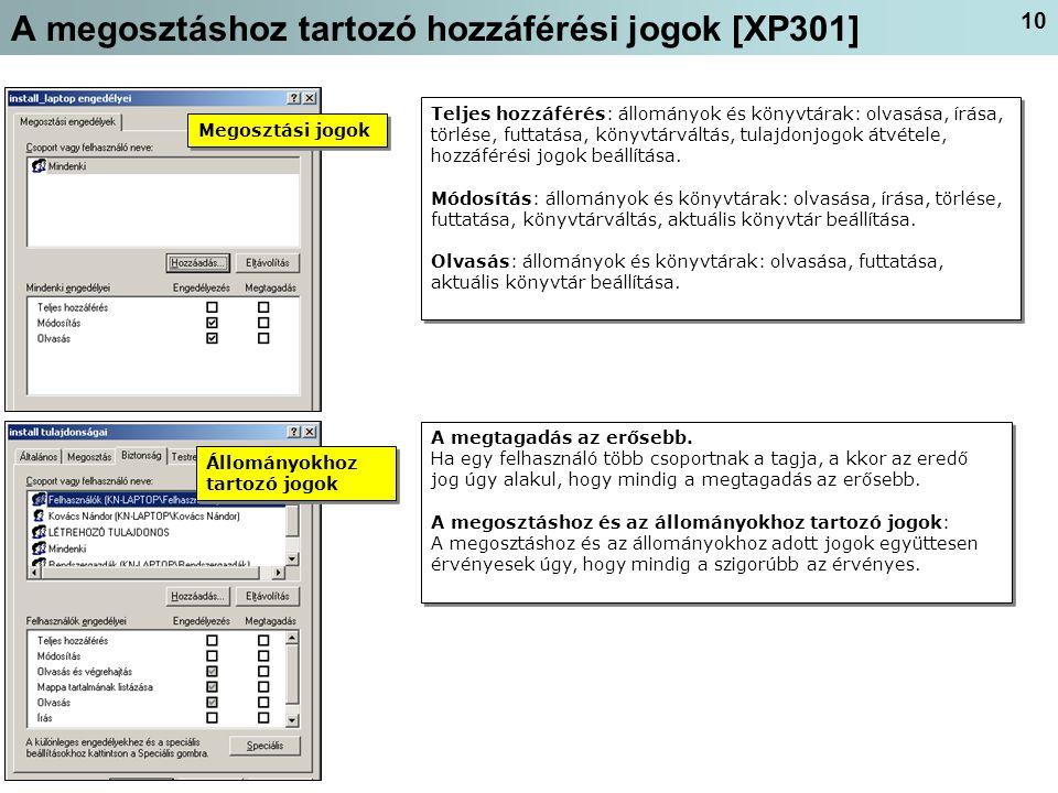 A megosztáshoz tartozó hozzáférési jogok [XP301]